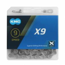 Цепь KMC X-9 с замком, sil/gray, в упаковке