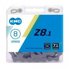 Цепь KMC Z8.1 7- 8 скоростей 116 звеньев + замок серый/серый
